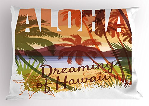 Lunarable Vintage Hawaii Pillow Sham, Aloha Dreaming of Hawaii Landscape Image with Mountains and Palm Trees Beach, Decorative Standard Size Printed Pillowcase, 26 X 20 inches, Multicolor by Lunarable