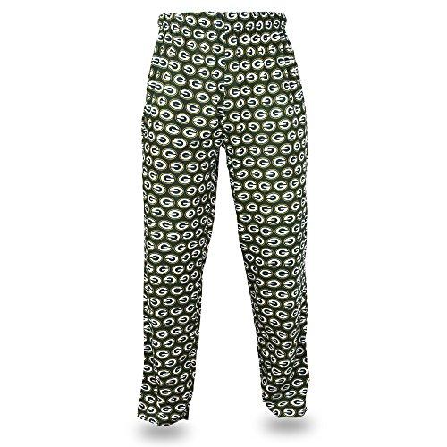 NFL Bay Packers Men's Zubaz Team Logo Print Comfy Jersey Pants, X-Large, Green
