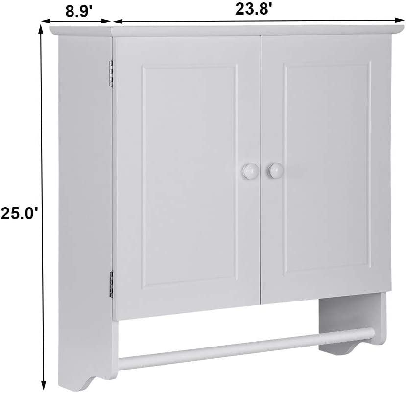 Over Toilet Organizer Space Saver Kitchen Cupboard with Doule Door Wall Mount Cabinet for Home Kitchen Bathroom Laundry huaquyuedu White Wooden Bathroom Wall Storage Cabinet with Towels Bar