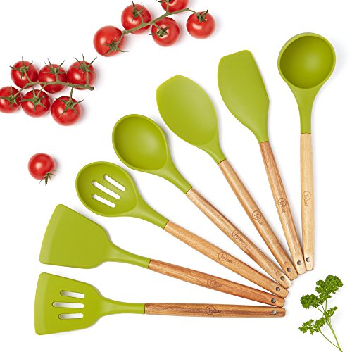 Wood Handle Silicone Spatula Utensil Set - Kitchen Utensils for Cooking - Heat Resistant Wooden Tools - Sets include spoons, spatulas. Best silicon BPA free gadgets on the market! by MazhKitchen