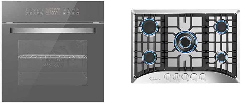 "Empava 24"" Electric Convection Single Wall Oven Deluxe 360° ROTISSERIE, Silver Mirror Glass EMPV-SOC17, 24 Inch & 30"" 5 Italy Sabaf Burners Gas Stove Cooktop Stainless Steel EMPV-30GC5B70C, 30 Inch"
