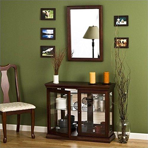 Pemberly Row Mahogany Curio Console Sofa Table with Glass Doors -