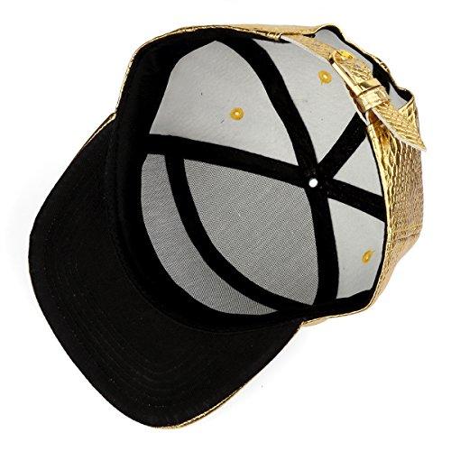 cinturón ala del del la de de Gorra béisbol patrón Oro de hebilla de de cocodrilo plana Snapback de gangsters Hombre sombrero del MCSAYS PU cuero TqYCnxZ6Yv