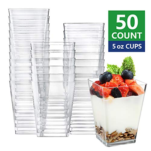 Eupako 50 Pack 5 oz Square Clear Plastic Dessert Cups Small Clear Plastic Tumbler Cups Great for Desserts, Appetizers, Puddings, Mousse and More