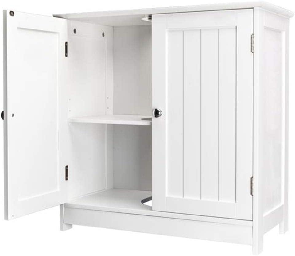 Bathroom Floor Cabinet, Under Sink Cabinet with Double Doors and Adjustable Shelf, Wooden Basin Cupboard Unit Standing Storage Organizer Furniture