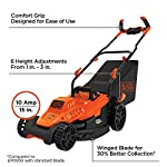 BLACK+DECKER Electric Lawn Mower, 10 -Amp, 15-Inch (BEMW472BH) 28 IMPROVED ERGONOMICS: Comfort grip handle makes the lawn mower easy to maneuver BETTER CLIPPING COLLECTION: Our winged blade achieves 30% better clipping collection NO MORE PULL CORDS: Push-button start makes starting the lawn mower a breeze