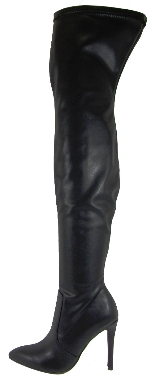 Soda Women's Pointed Toe Over the Knee Stretch Stiletto High Heel Boot (7.5 B(M) US, Black PU)