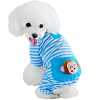 Puppy Clothes Dog Coat Jumpsuit Comfy Dog Pajamas Dog Shirt Stripes Pet Dog Clothes (S, Blue)