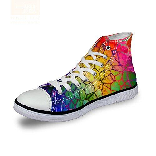 HUGSIDEA Rainbow Color Womenn's Fashion Canvas High Top Shoes Lace-up Sneakers US7
