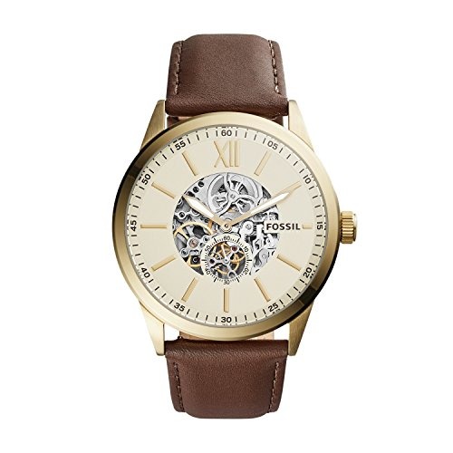 Mens Mechanical Brown Leather - Fossil Flynn Mechanical Brown Leather Watch Bq2215