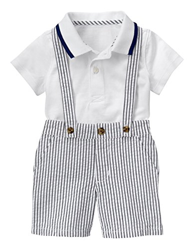 Gymboree Baby Toddler Boys Seersucker Suspender Set  Multi  6 12 Months