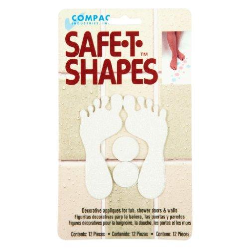 Compac Safe-T-Shapes Bathtub Appliques, White Feet, 3 Count