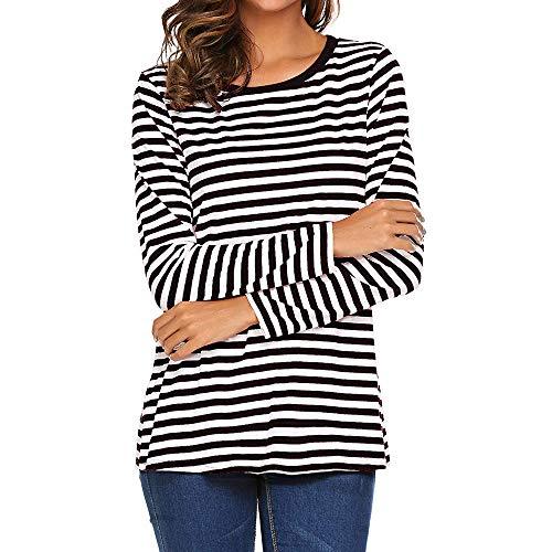 chuxin huang Women Long Sleeve Round Neck T-Shirt Striped Shirts Tunic Top Blouse Black
