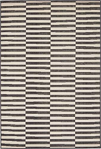 Unique Loom Williamsburg Collection Casual Striped Black Area Rug (4' 0 x 6' 0)