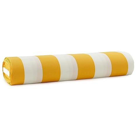 Tessuto per tende da sole Righe 140 cm trattamento impermeabile - Giallo  M973