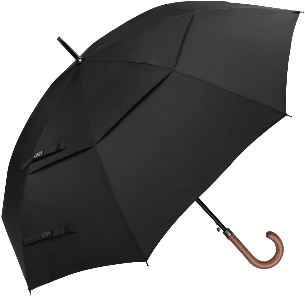 G4Free 52/62inch Wooden J Handle Golf Umbrella Windproof UV Protection Classic Stick Wedding Cane Umbrellas, Auto Open Cane Hook Handle