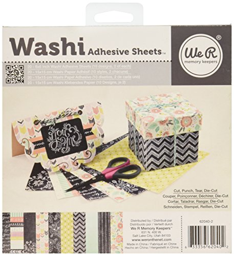 Dispenser Vellum Adhesive (We R Memory Keepers 6x6 inch Washi Adhesive Sheet Pad - Chalkboard)