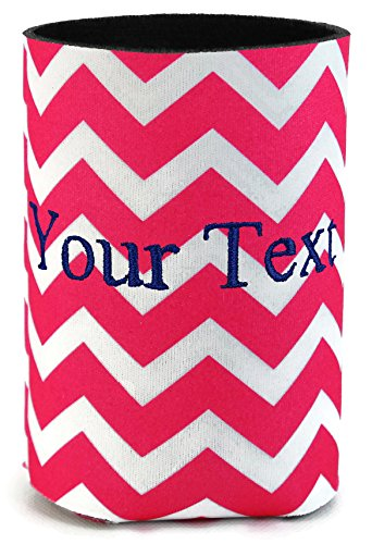 Personalized Hot Pink Chevron Can Cooler with Embroidered 1 Line -
