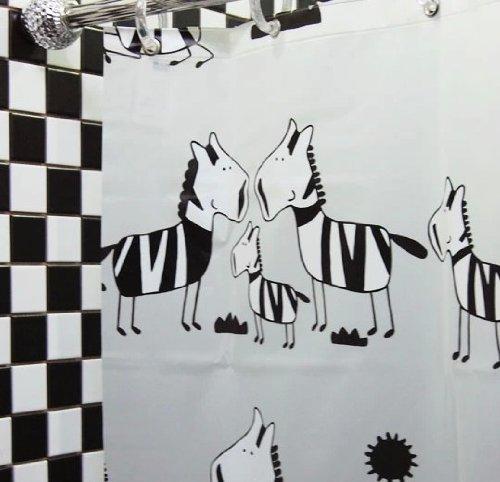 MALO PEVA Environmental Waterproof Shower Curtain White-Black Zebra Type 180*200CM