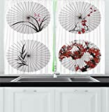 Cheap Ambesonne Apartment Decor Kitchen Curtains, Group of Ethnic Parasol with Swirled Floral Lines and Bamboo Leaves Print, Window Drapes 2 Panels Set for Kitchen Cafe, 55 W X 39 L Inches, Red White