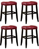 4 29″ Red Cushion Saddle Back Espresso Bar Stools Review