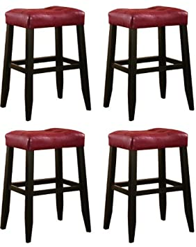 4 29 Red Cushion Saddle Back Espresso Bar Stools