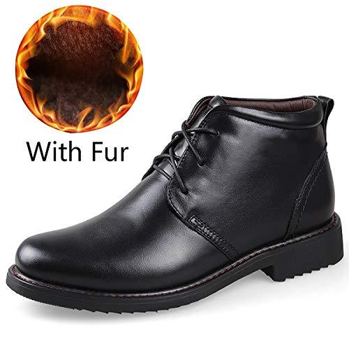 Negocios Zapatos Zapatillas Boots Calzado Fur Cómodas Genuino Black Hombres Moda With Fhcgmx Casual De Para Botas Invierno Cuero YOddTxw