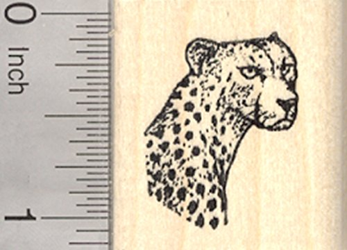 Cheetah Portrait Rubber Stamp, Small