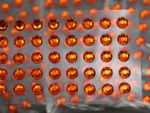 Rhinestones Adhesive Self Wholesale (8mm SS40 Amber Individually Self Adhesive Rhinestones For Cards And Invitations - 50PCS/SHT)