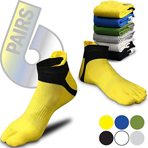Toe Socks Colorful - Five Toe Socks - 5 Finger Socks for Men Women Teen - 6 pack
