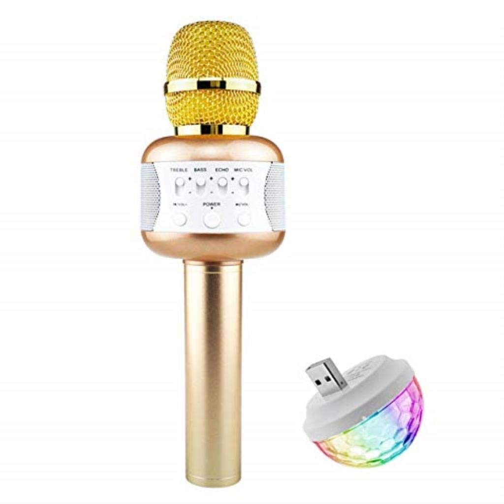 Rsiosle Wireless Bluetooth Karaoke Microphone with Mini USB Disco Lights Portable KTV Music Player Singing Mic Compatible with Android and iOS ( Color : Gold )