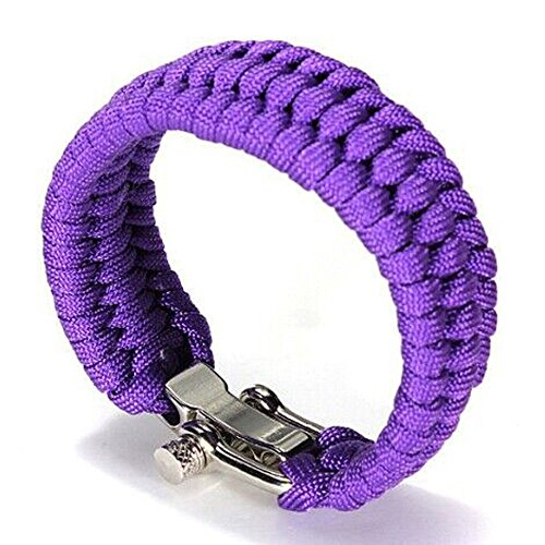 (Botrong Hot New Survival Rope Paracord Bracelet Outdoor Camping Hiking Steel Shackle Buckle (Purple))