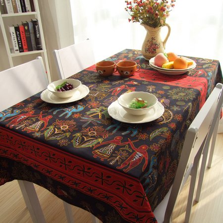 MeMoreCool Southeast Asian Style Cotton Linen Tablecloths Exotic Coffee Table Coth Various Size Multi-purpose Cloth Cover Thai Elephant Pattern Table Coth