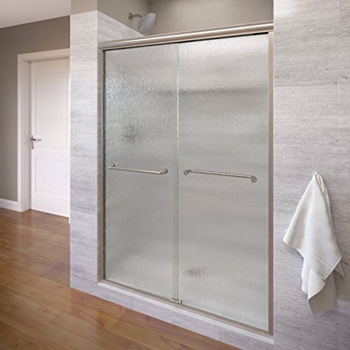 Basco Infinity Frameless Sliding Shower Door, Fits 56-58.5 inch opening, Rain Glass, Brushed Nickel Finish