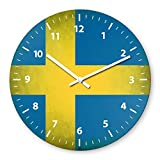 Sweden Flag Wooden Wall Clock Silent Non-ticking Wall Clocks Decorative for Living Room Bedrooms Nursery Clock Children Watch