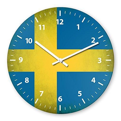 Sweden Flag Wooden Wall Clock Silent Non-ticking Wall Clocks Decorative for Living Room Bedrooms Nursery Clock Children Watch