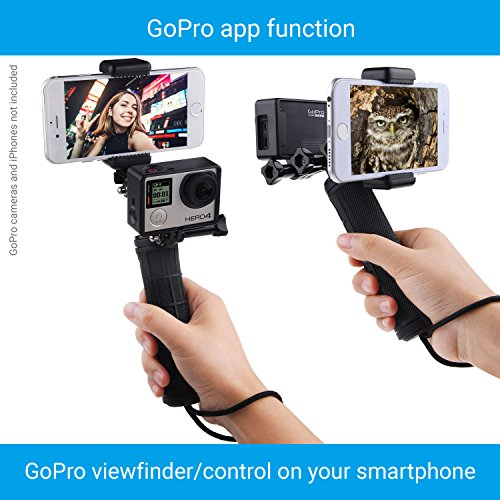 CamKix Replacement Stabilizing Hand Grip Compatible with GoPro Hero with Dual Mount, Tripod Adapter and Universal Phone Holder - Record Videos with 2 Different Camera Angles Simultaneously by CamKix (Image #8)