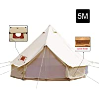 Unistrengh 5M/16.4ft Waterproof Cotton Canvas Bell Tent Outdoor Camping Yurt Tent Glamping Teepee Tent