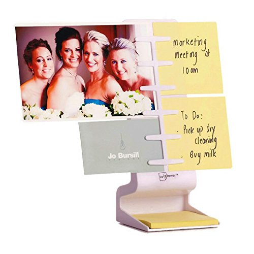 NoteTower Desktop Mini White - Sticky Note Organizer and Dispenser - Holds and Displays Photos, Sticky Notes and Business Cards + Bonus 50 Sheets 3