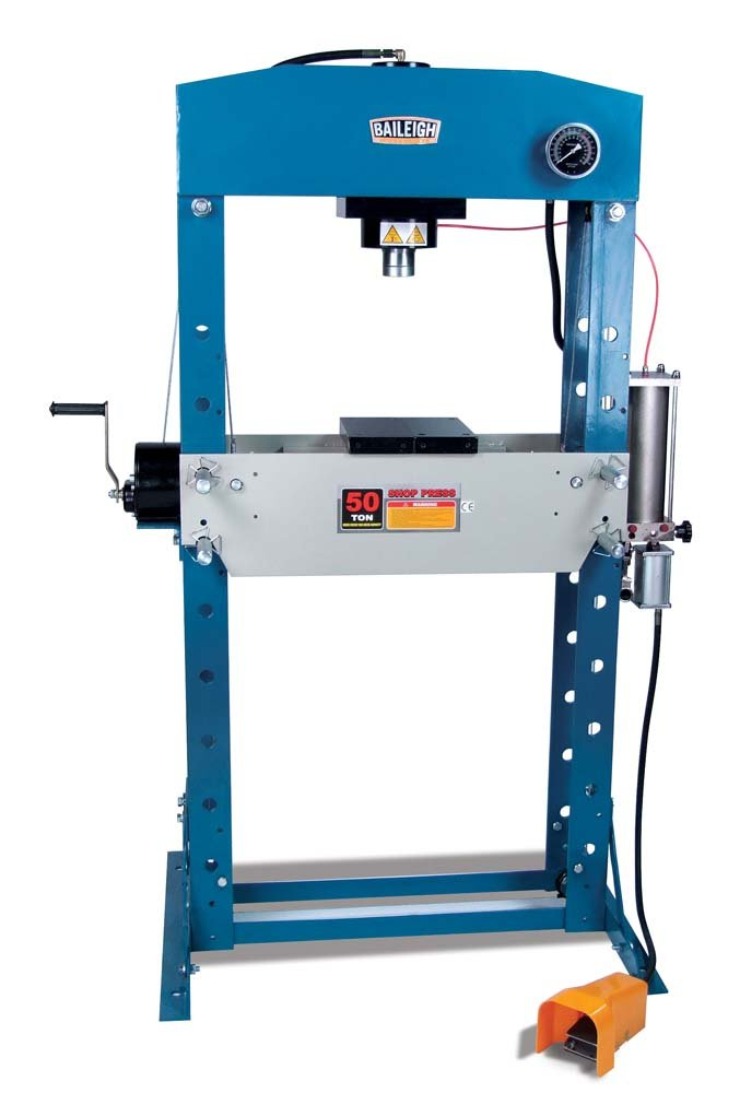 Baileigh HSP-50A Air/Hand Operated H-Frame Press, 50 Ton Capacity, 28-1/2'' Working Width