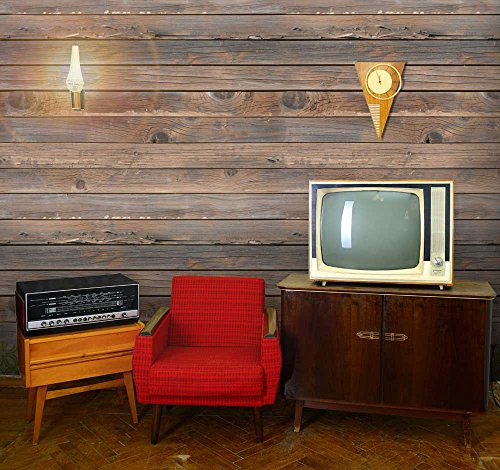 Horizontal Brown Vintage and Retro Wood Textured Paneling Wall Mural Removable Wallpaper