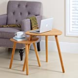Finnhomy Bamboo Nesting Coffee End Tables Modern Side Table for Home and Office ( Natural, Set of 2 )