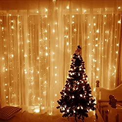 ECOWHO String Lights, 300 LED Window Curtain Twinkle Starry Lights, 8 Lighting Modes, UL Listed Adapter for Wedding, Party, Garden, Festival, Holiday Decorations (Warm White)