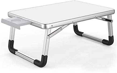 QIDI Folding Table Laptop for Bed Study Breakfast Drawing Bedroom Home Office Color White, Size 6040cm