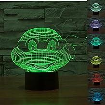 SUPERNIUDB 3D Teenage Mutant Ninja Turtles 3D LED Nightlight 7 Color Desk Table Lamp