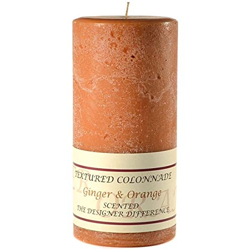 Orange Vanilla Pillar - Textured 4x9 Ginger and Orange Pillar Candle For Wedding/Dinner, Holiday Event, Home Decoration, 100 to 120 hours, 4 in. diameterx9.25 in. tall, 1 Piece