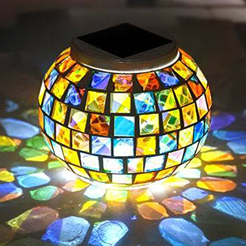 GZQ Colour Changing Mosaic Night Light, Waterproof Crystal Glass Light Lamp for Garden, Table, Patio, Indoor Decorations (Table Diy Patio Mosaic)