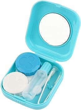 Plástico Portátil Mini Lente de contacto Estuche para lentes de contacto para viajes al aire libre Contenedor con espejo Fácil de llevar para el cuidado de los ojos - Azul: Amazon.es: Salud