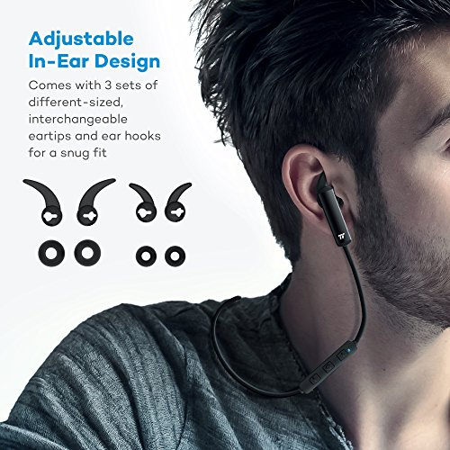 Wireless Earbuds, TaoTronics Bluetooth Headphones with Lightweight Compact Construction, Cordless 4.1 Earphones with Durable Aluminum Alloy Build (Inline Controls – Only 0.53 oz)