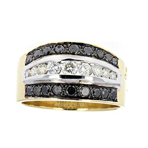 Black Diamond Ring, Mens Diamond Ring, 18Kt White & Yellow Gold Mens Diamond Ring, D-050Ct, Bd-0.35Ct -
